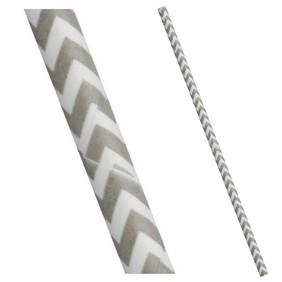 Bulk Case Grey and White Chevron Biodegradable Paper Drinking Straws Diameter 6mm x 197mm