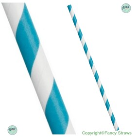 Coastal Blue and White Stripe Biodegradable Paper Drinking Straws 197mm x 6mm