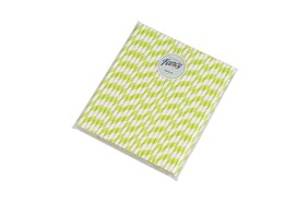 Gin Green and White Stripe Biodegradable Paper Drinking Straws - 197mm x 6mm (Regular)