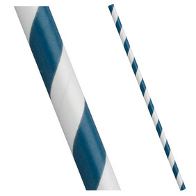 Aegean (Navy) Blue and White Stripe Biodegradable Paper Drinking Straws 197mm x 6mm (Regular)