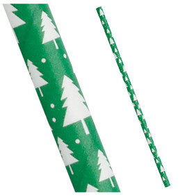 Christmas Forest Green with white Trees 197mm x 6mm Biodegradable Paper Drinking Straws 25 Pack