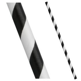 Black and White Stripe Biodegradable Paper Drinking Straws - Diameter 6mm (Regular)